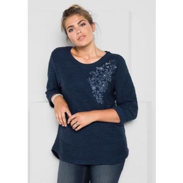 Große Größen: Sweatshirt mit Blütenstickerei, marine, Gr.40/42-56/58