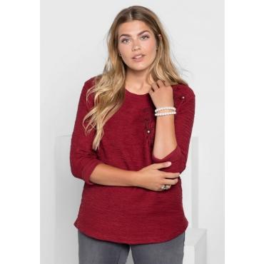 Große Größen: Sweatshirt mit Blütenstickerei, rubinrot, Gr.40/42-56/58