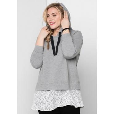 Große Größen: Sweatshirt im Lagenlook, grau meliert, Gr.44/46-56/58