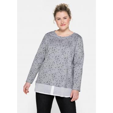 Sweatshirt mit Blusenbesatz am Saum, grau meliert bedruckt, Gr.44/46-56/58