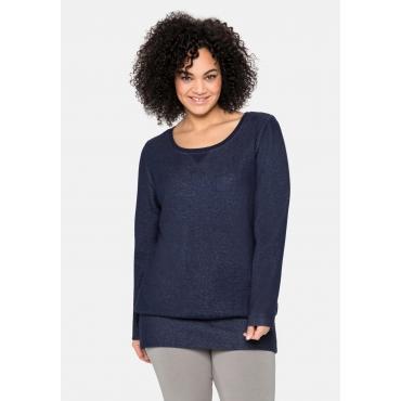 Sweatshirt mit breitem Saumbündchen, marine, Gr.40/42-56/58
