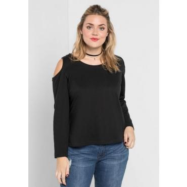 Große Größen: Sweatshirt mit Cut-Outs an den Schultern, schwarz, Gr.40/42-56/58