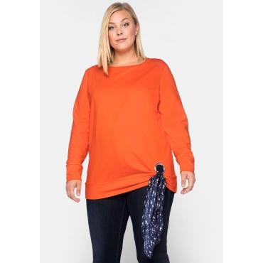 Sweatshirt mit dekorativer Öse und Tuch, orange, Gr.44/46-56/58