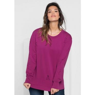 Große Größen: Sweatshirt mit Destroyed-Effekten, dunkelfuchsia, Gr.40/42-56/58