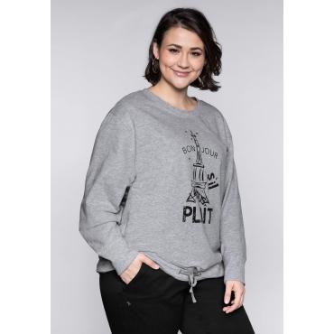 Große Größen: Sweatshirt mit Eiffelturmdruck und Bindeband, grau meliert, Gr.44/46-56/58