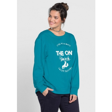 Große Größen: Sweatshirt mit Frontdruck, italienblau, Gr.40/42-56/58