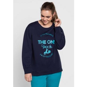 Große Größen: Sweatshirt mit Frontdruck, marine, Gr.40/42-56/58