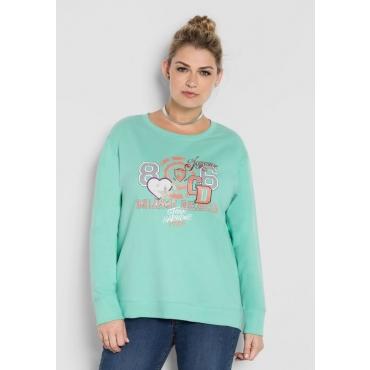 Große Größen: Sweatshirt mit Frontdruck, minze, Gr.40/42-56/58