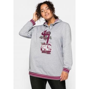 Sweatshirt mit Frontdruck und Kapuze, grau meliert, Gr.44/46-56/58