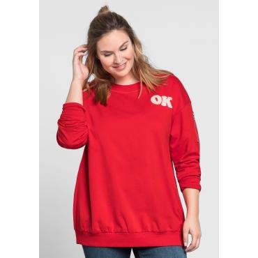 Große Größen: Sweatshirt mit Frottee-Applikation, mohnrot, Gr.44/46-56/58
