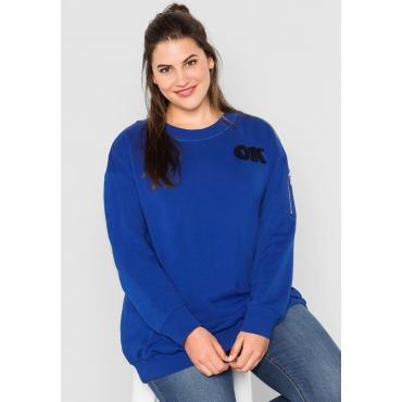 Große Größen: Sweatshirt mit Frottee-Applikation, royalblau, Gr.44/46-56/58