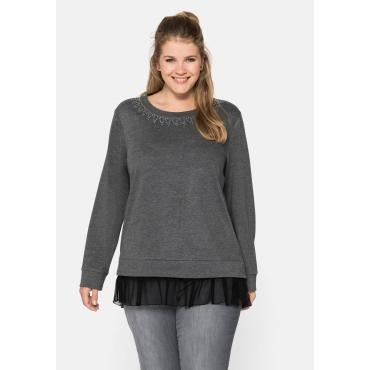 Sweatshirt mit Glitzersteinen, in Lagenoptik, grau meliert, Gr.44/46-56/58
