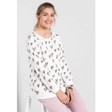 Große Größen: Sweatshirt mit Herz-Alloverdruck, offwhite, Gr.40/42-56/58