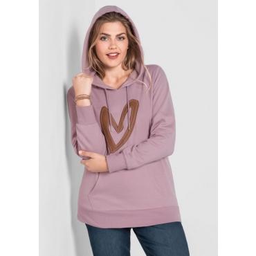 Große Größen: Sweatshirt mit Kapuze, altrosé, Gr.40/42-56/58