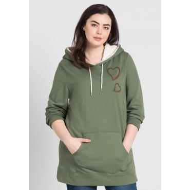 Große Größen: Sweatshirt mit Kapuze, khaki, Gr.44/46-56/58