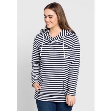 Große Größen: Sweatshirt mit Kapuze, marine-weiß, Gr.40/42-56/58