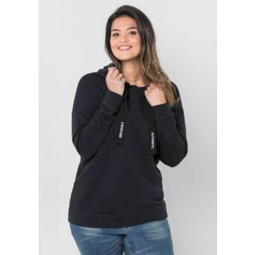 Große Größen: Sweatshirt mit Kapuze, schwarz, Gr.40/42-56/58