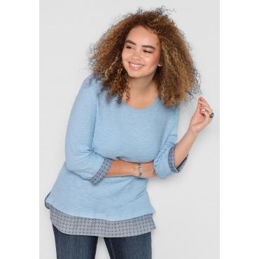 Große Größen: Sweatshirt mit Kontrast-Bund, pastellblau, Gr.40/42-56/58
