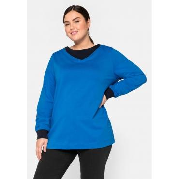 Sweatshirt mit Kontrastdetails, in kastiger Form, ozeanblau, Gr.44/46-56/58