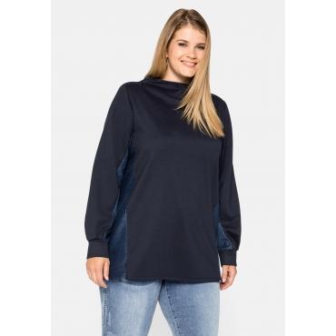 Sweatshirt mit Kontrasteinsätzen im Karo-Design, nachtblau, Gr.44/46-56/58