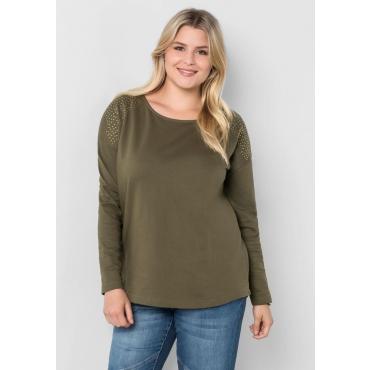 Große Größen: Sweatshirt mit Nieten-Applikation, dunkelkhaki, Gr.40/42-56/58