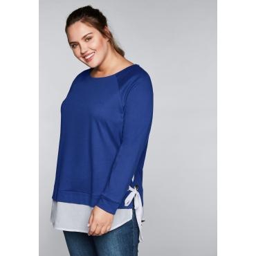 Große Größen: Sweatshirt mit Ösen und Bindeband, royalblau, Gr.44/46-56/58