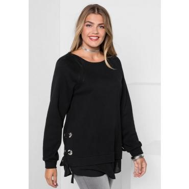 Große Größen: Sweatshirt mit Ösen und Schnürung, schwarz, Gr.40/42-56/58