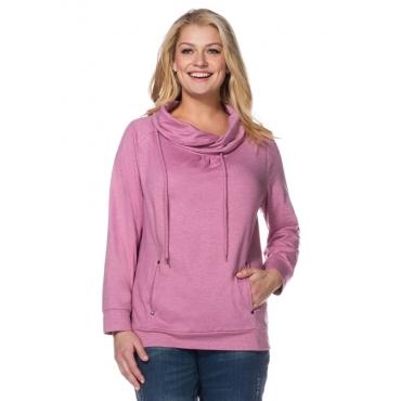 Große Größen: Sweatshirt mit Raffung, malve meliert, Gr.40/42-56/58