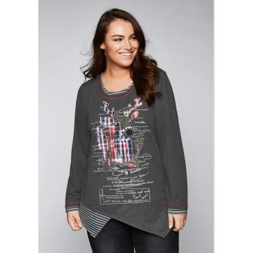 Große Größen: Sweatshirt mit Rentier-Applikation, grau meliert, Gr.44/46-56/58