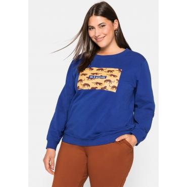 Sweatshirt mit Rundhalsausschnitt und Animalprint, ultramarin, Gr.44/46-56/58