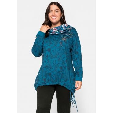 Sweatshirt mit Schlauchkragen, allover bedruckt, petrol bedruckt, Gr.44/46-56/58