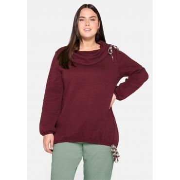 Sweatshirt mit Schlauchkragen, im Mustermix, barolo, Gr.44/46-56/58