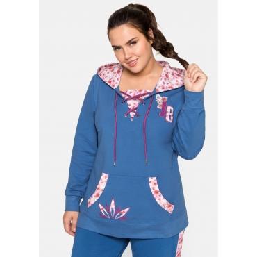Große Größen: Sweatshirt mit Schnürung am Ausschnitt, blau, Gr.44/46-56/58