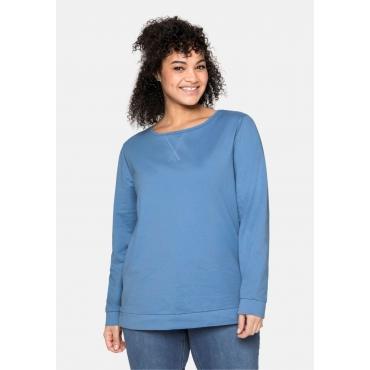 Sweatshirt mit seitlichen Reißverschlüssen, jeansblau, Gr.40/42-56/58