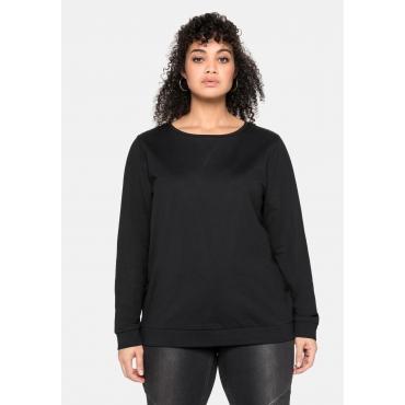 Sweatshirt mit seitlichen Reißverschlüssen, schwarz, Gr.40/42-56/58