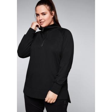 Sweatshirt mit seitlichen Schlitzen, schwarz, Gr.44/46-56/58