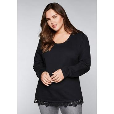 Große Größen: Sweatshirt mit Spitze, schwarz, Gr.44/46-56/58