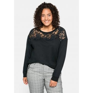 Sweatshirt mit Spitzeneinsatz, in Flammgarn-Optik, schwarz, Gr.44/46-56/58