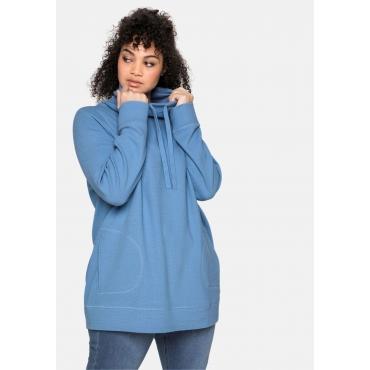 Sweatshirt mit Stehkragen, in Waffelpiqué-Optik, jeansblau, Gr.40/42-56/58