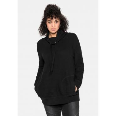 Sweatshirt mit Stehkragen, in Waffelpiqué-Optik, schwarz, Gr.40/42-56/58