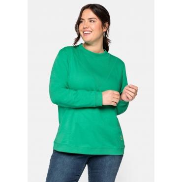 Sweatshirt mit Stehkragen und Rippeinsatz vorn, blattgrün, Gr.44/46-56/58