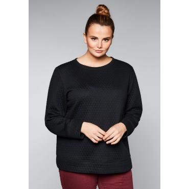 Große Größen: Sweatshirt mit Steppnähten, schwarz, Gr.44/46-56/58
