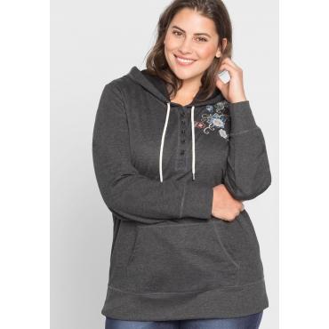 Große Größen: Sweatshirt mit Stickerei, anthrazit, Gr.44/46-56/58