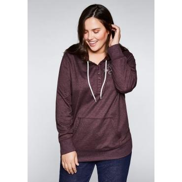 Große Größen: Sweatshirt mit Stickerei, aubergine, Gr.44/46-56/58