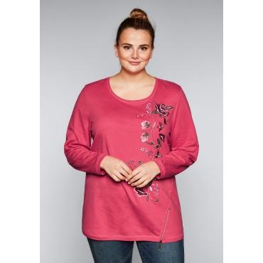 Große Größen: Sweatshirt mit Stickerei, flamingo, Gr.44/46-56/58
