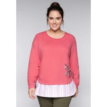 Große Größen: Sweatshirt mit Stickerei und Rippbündchen, korallrot, Gr.44/46-56/58