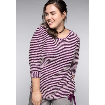 Große Größen: Sweatshirt mit Struktur-Ringel, lila, Gr.44/46-56/58