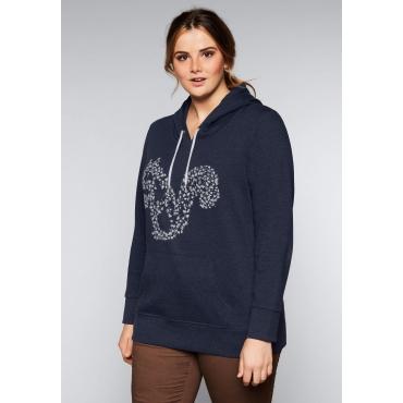 Große Größen: Sweatshirt mit Tier-Frontdruck, marine meliert, Gr.44/46-56/58