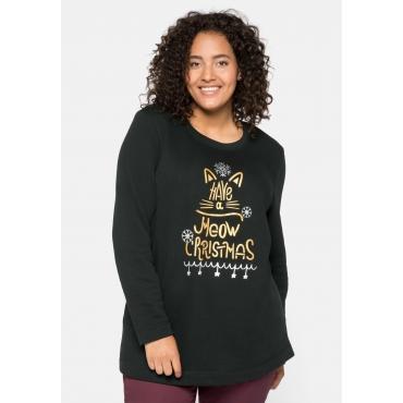 Sweatshirt mit Weihnachtsmotiv, schwarz, Gr.44/46-56/58