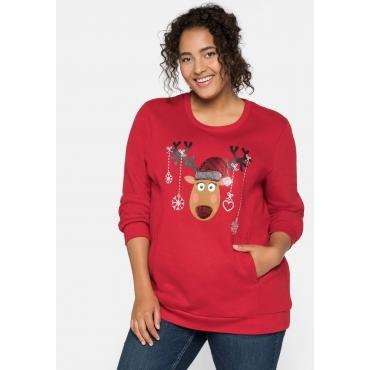 Sweatshirt mit Weihnachtsmotiv und Pailletten, karminrot, Gr.44/46-56/58